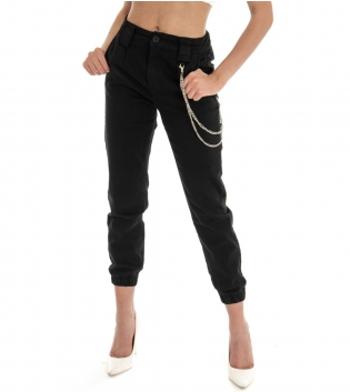 Pantalone Donna Lungo Tinta Unita Nero Pinces Tasche America GIOSAL