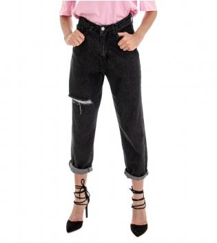 Pantalone Donna Lungo Jeans Denim Scuro Rotture Vita Alta GIOSAL