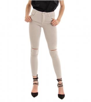 Pantalone Donna Lungo Tinta Unita Beige Rotture Cinque Tasche GIOSAL-Beige-XS