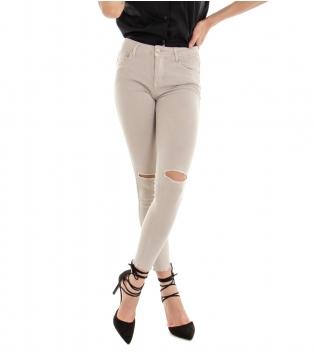 Pantalone Donna Lungo Tinta Unita Beige Rotture Cinque Tasche GIOSAL