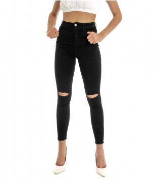 Pantalone Donna Lungo Tinta Unita Nero Rotture Cinque Tasche GIOSAL