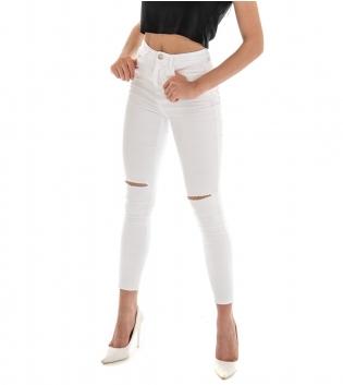 Pantalone Donna Lungo Tinta Unita Bianco Rotture Cinque Tasche GIOSAL