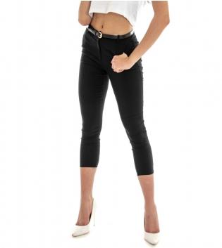 Pantalone Donna Lungo Tinta Unita Nero Skinny Tasca America GIOSAL