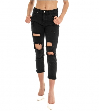 Pantalone Donna Lungo Jeans Nero Rotture Cinque Tasche GIOSAL