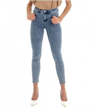 Pantalone Donna Jeans Denim Skinny Sfumato Cinque Tasche GIOSAL