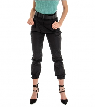 Pantalone Donna Lungo Tinta Unita Nero Elastico Tasca America GIOSAL