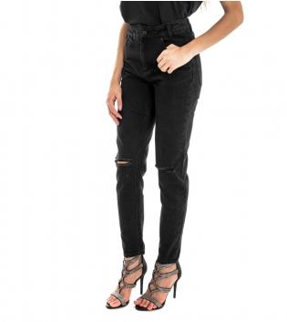 Pantalone Donna Lungo Jeans Nero Rotture Vita Alta GIOSAL