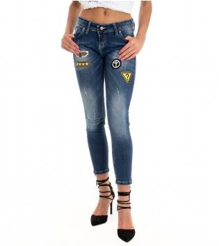 Jeans Donna Lungo Denim Stampa Skinny Stemma Smile Cinque Tasche GIOSAL