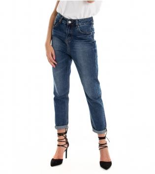Pantalone Donna Lungo Jeans Denim Cinque Tasche Cavallo Basso GIOSAL