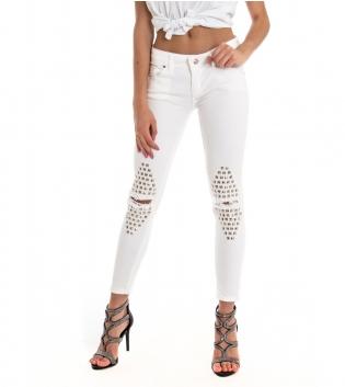 Pantalone Donna Lungo Tinta Unita Bianco Borchie Rotture Slim Cinque Tasche GIOSAL