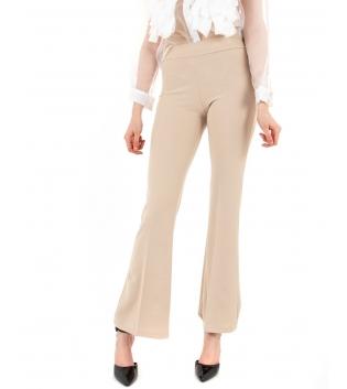 Pantalone Donna Lungo Tinta Unita Beige Campana Skinny Elastico GIOSAL-Beige-TAGLIA UNICA