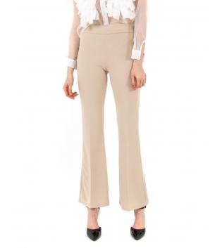 Pantalone Donna Lungo Tinta Unita Beige Campana Skinny Elastico GIOSAL