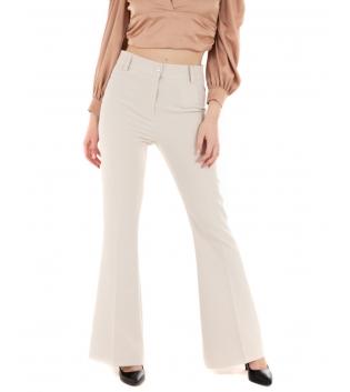 Pantalone Donna Classico Elegante Beige Zampa Chic GIOSAL-Beige-S