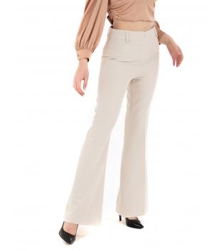 Pantalone Donna Classico Elegante Beige Zampa Chic GIOSAL