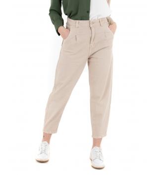 Pantalone Donna Tinta Unita Beige Slouchy Jeans Casual GIOSAL-Beige-XS