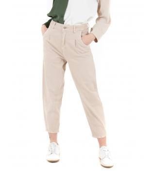 Pantalone Donna Tinta Unita Beige Slouchy Jeans Casual GIOSAL