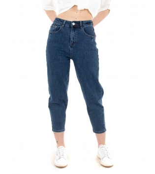 Pantalone Donna Jeans Blue Denim Slouchy Fit Casual GIOSAL