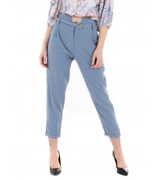Pantalone Donna Tinta Unita Polvere Eiki Fibia Classico Casual GIOSAL