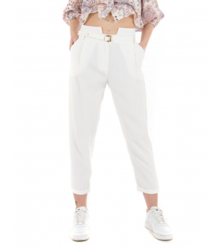 Pantalone Donna Tinta Unita Bianco Eiki Fibia Classico Casual GIOSAL