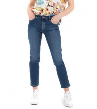 Pantalone Donna Eiki Jeans Denim Scuro Cinque Tasche Skinny Casual GIOSAL