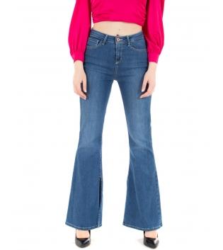 Pantalone Donna Jeans Denim Scuro Zampa Cinque Tasche GIOSAL