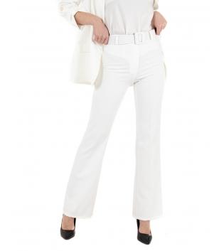 Pantalone Donna a Zampa Tinta Unita Bianco Cintura Classico Elegante GIOSAL
