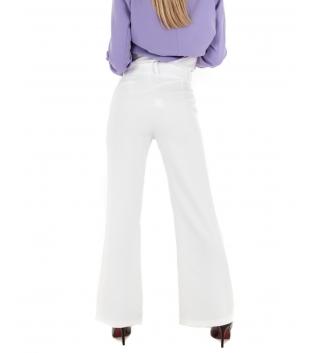 Pantalone Donna Palazzo Tinta Unita Bianco Classico Casual GIOSAL