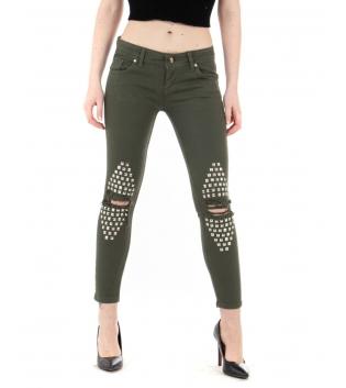 Pantalone Donna Lungo Tinta Unita Bianco Borchie Rotture Slim Cinque Tasche GIOSAL-Verde-40