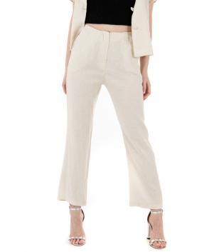 Pantalone Donna Lino Tinta Unita Beige Pinces Elastico GIOSAL-Beige-TAGLIA UNICA