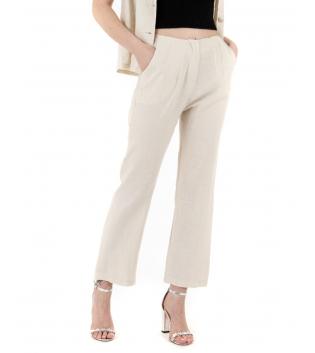 Pantalone Donna Lino Tinta Unita Beige Pinces Elastico GIOSAL