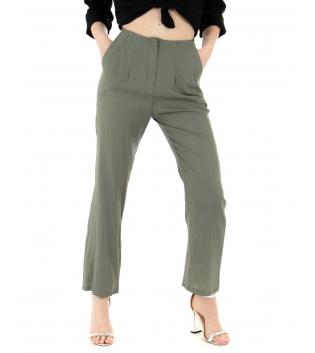 Pantalone Donna Lino Tinta Unita Verde Pinces Elastico GIOSAL-Verde-TAGLIA UNICA