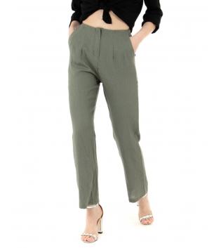 Pantalone Donna Lino Tinta Unita Verde Pinces Elastico GIOSAL
