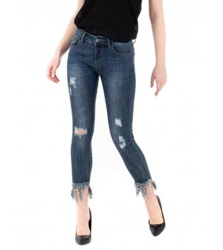 Pantalone Donna Jeans Sfrangiato Rotture Denim Scuro Cinque Tasche GIOSAL