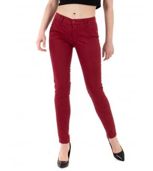 Pantalone Donna Tinta Unita Rosso Tasca America Casual Lungo GIOSAL