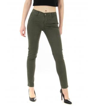 Pantalone Donna Tinta Unita Verde Tasca America Casual Lungo GIOSAL-Verde-42