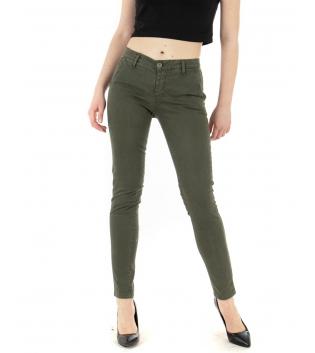 Pantalone Donna Tinta Unita Verde Tasca America Casual Lungo GIOSAL