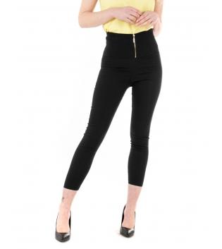 Pantalone Donna Lungo Tinta Unita Nero Zip Alta Vita Skinny GIOSAL