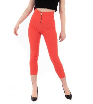 Pantalone Donna Lungo Tinta Unita Rosso Zip Alta Vita Skinny GIOSAL