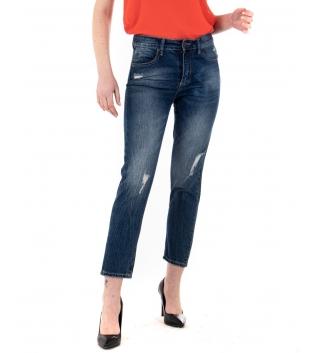 Pantalone Donna Jeans Skinny Rotture Straight Denim Blu Casual GIOSAL