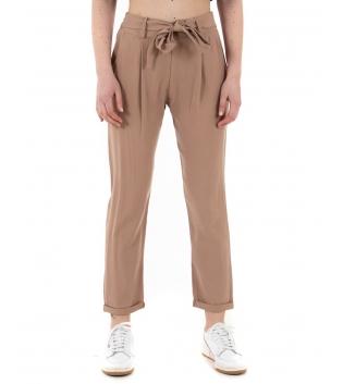 Pantalone Donna Eiki Viscosa Dritto Cintura Tasca America Tinta Unita Camel GIOSAL