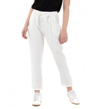 Pantalone Donna Eiki Viscosa Dritto Cintura Tasca America Tinta Unita Bianco GIOSAL