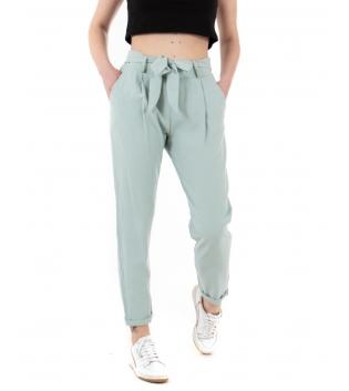 Pantalone Donna Eiki Viscosa Dritto Cintura Tasca America Tinta Unita Verde Acqua GIOSAL