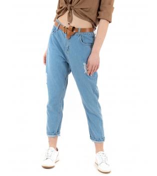 Pantalone Donna Jeans Denim Chiaro Cinque Tasche Rotture Casual GIOSAL