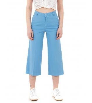 Pantalone Donna Lungo Palazzo Tinta Unita Azzurro Tasca America GIOSAL