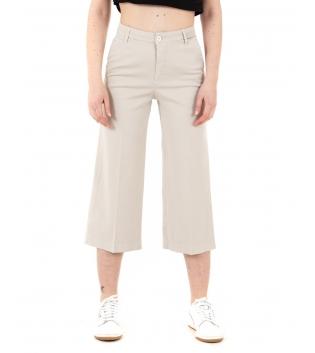 Pantalone Donna Lungo Palazzo Tinta Unita Beige Tasca America GIOSAL-Beige-40