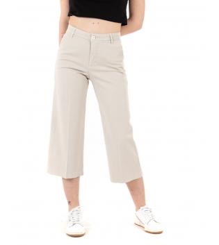 Pantalone Donna Lungo Palazzo Tinta Unita Beige Tasca America GIOSAL