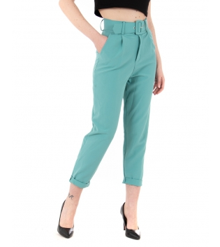 Pantalone Donna Lungo Tinta Unita Verde Acqua Elegante Cintura Casual GIOSAL