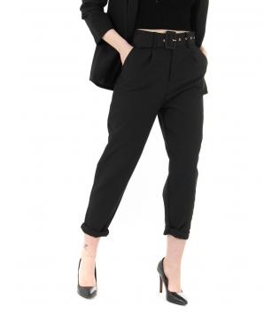 Pantalone Donna Lungo Tinta Unita Nero Elegante Cintura Casual GIOSAL