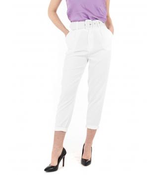Pantalone Donna Lungo Tinta Unita Bianco Elegante Cintura Casual GIOSAL