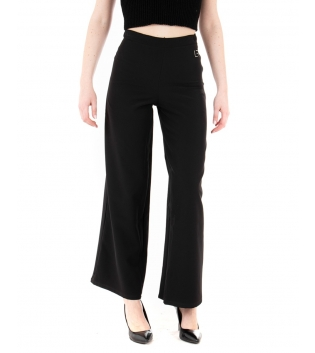 Pantalone Donna Lungo Tinta Unita Nero Zampa Elastico GIOSAL